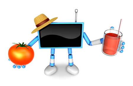 Blue TV farmer Character right hand, tomato in the left hand holding a juice. Create 3D Television Robot Series.