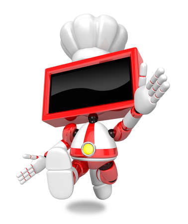 Red TV character is powerful running. Create 3D Television Robot Series. Stock Photo