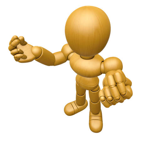 3D Wood Doll Mascot the money gesture. 3D Wooden Ball Jointed Doll Character Design Series. Stock Photo