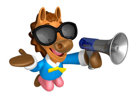 Wear sunglasses 3D Horse Mascot the left hand guides and right hand is holding a loudspeaker. 3D Animal Character Design Series.