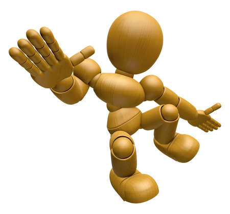 3D Wood Doll Mascot unclasp both hands jumping. 3D Wooden Ball Jointed Doll Character Design Series. Stock Photo