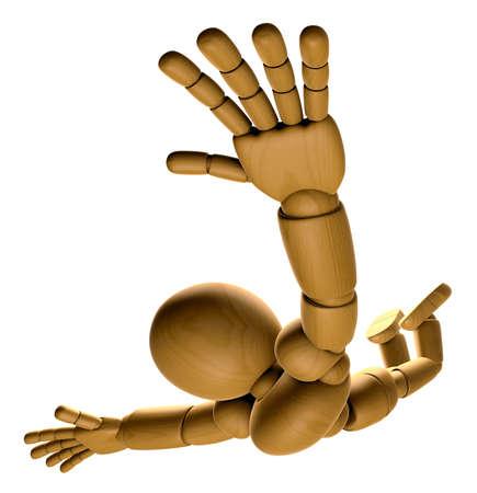 marioneta de madera: 3D Wood Doll Mascot es para jugar paracaidismo. Serie de diseño de personajes de muñecas articulada pelota de madera 3D. Foto de archivo