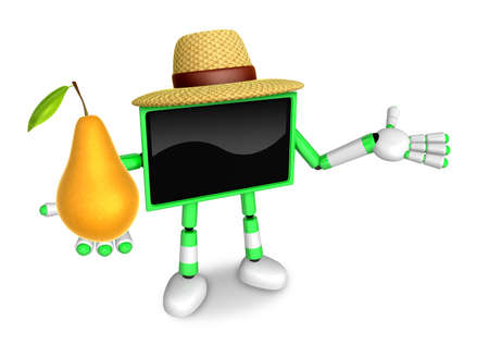Green TV farmer mascot the right hand guides and the left hand is holding a Pear. Create 3D Television Robot Series.