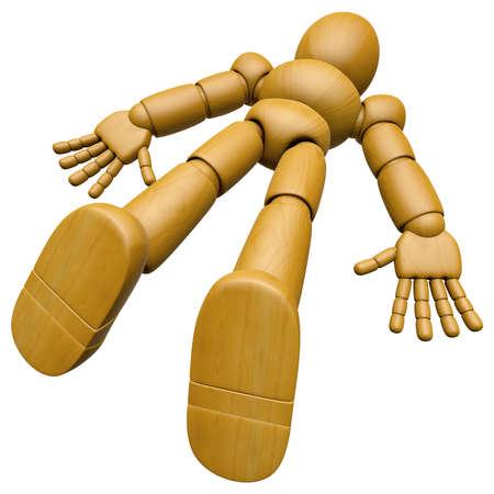 3D Holz Puppe Maskottchen gefunden liegend bewusstlos auf dem Boden. 3D Wooden Ball Jointed Puppe Charakter Design Serie. Standard-Bild - 83184132