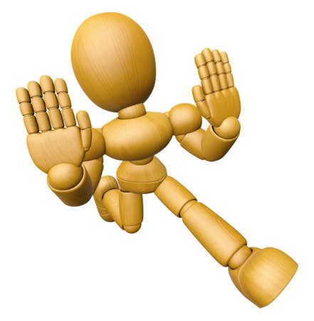 3D Wood Doll Mascot is No gestures of both hands. 3D Wooden Ball Jointed Doll Character Design Series.