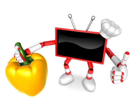 Red TV chef Character right hand sweet-pepper. The best gesture of the right hand is taking. Create 3D Television Robot Series.