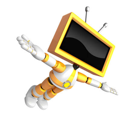 Yellow TV robot flying towards the sky. Create 3D Television Robot Series.