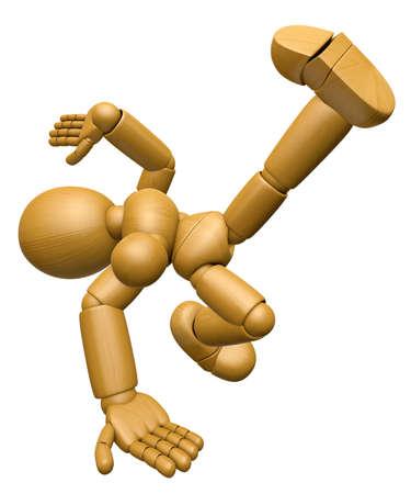 marioneta de madera: 3D Wood Doll Mascot es Fall with a thump. Serie de diseño de personajes de muñecas articulada pelota de madera 3D.