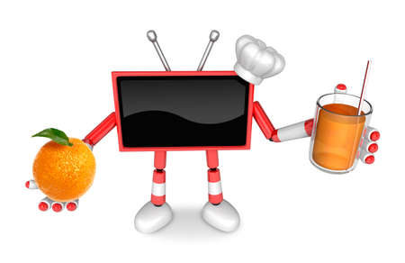 Chef Red TV Character right hand, Orange in the left hand holding a juice. Create 3D Television Robot Series. Stock Photo