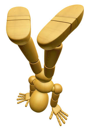3D Wood Doll Mascot stand upside down, on a Low Angle Shot. 3D Wooden Ball Jointed Doll Character Design Series. Stock Photo