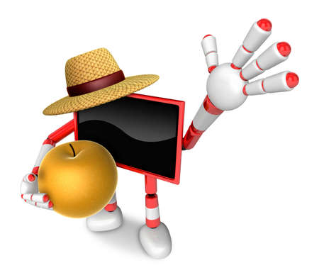 Red TV farmer mascot the right hand guides and the left hand is holding a Pear. Create 3D Television Robot Series.