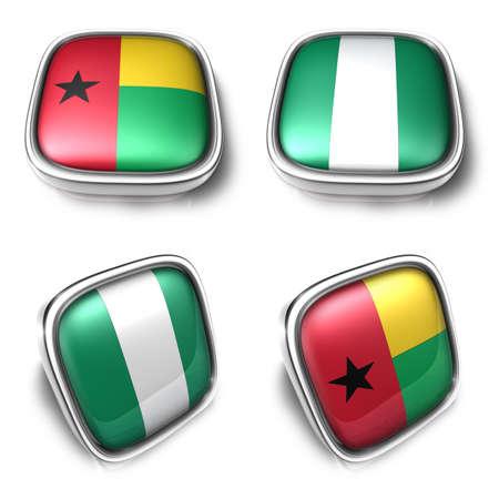 Guinea-Bissau and Nigeria  3d metalic square flag Button Icon Design Series. 3D World Flag Button Icon Design Series.