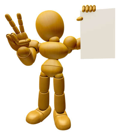 3D Wood Doll Mascot the left hand victory gesture and right hand is holding a document. 3D Wooden Ball Jointed Doll Character Design Series.