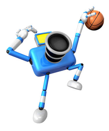 Blue camera basketball player Vigorously jumping. Create 3D Camera Robot Series. Stock Photo