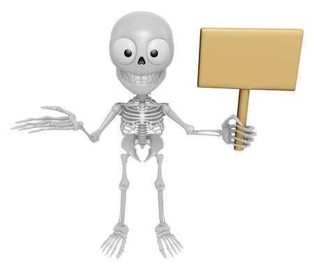 3D-skeletmascotte de rechterhandgidsen en de linkerhanden houden een piket vast. 3D Skull Character Design Series.