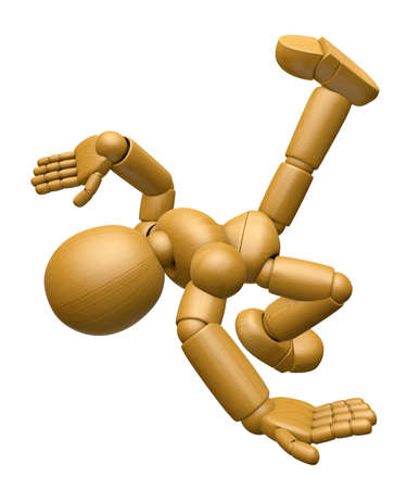 3D Wood Doll Mascot is Fall with a Bump. 3D Wooden Ball Jointed Doll Character Design Series.