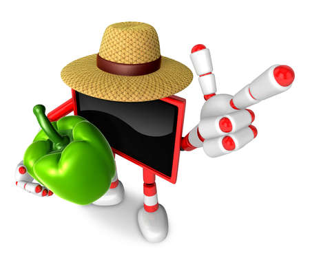 Red TV farmer mascot the right hand guides and the left hand is holding a sweet pepper. Create 3D Television Robot Series.