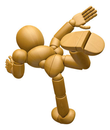 3D Wood Doll Mascot run at full speed. 3D Wooden Ball Jointed Doll Character Design Series. Stock Photo