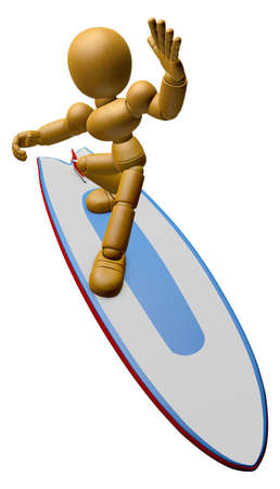 sailboard: 3D Wood Doll Mascot to play a surfboard.. 3D Wooden Ball Jointed Doll Character Design Series.