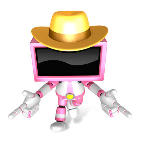 Magenta TV character are kindly guidance. Create 3D Television Robot Series.