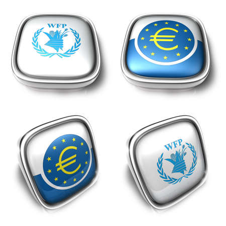 Wfp and Ecb 3d metalic square Symbol Button Icon Design Series. 3D World Flag Button Icon Design Series.