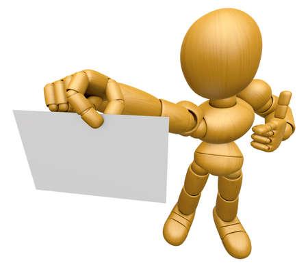 marioneta de madera: La mascota de la muñeca de madera en 3D se ha dirigido hacia la tarjeta de visita. 3D de madera Carácter articulación esférica de la muñeca de la serie Diseño.