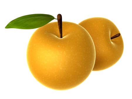 2 つの新鮮なベージュ色、アジアの梨です。食品や料理シリーズ。 写真素材