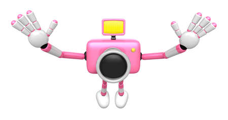 Pink Camera Character in Powerful jumping. Create 3D Camera Robot Series.