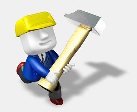 3d engineer working with their big hammer