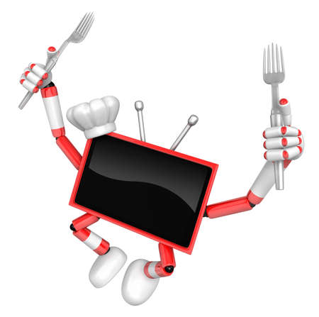 Red TV Character Cook in both hands to hold a fork. TV Character jumping. Create 3D Television Robot Series. Stock Photo
