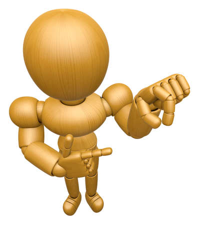 seize: 3D Wood Doll Mascot the pick up a gesture. 3D Wooden Ball Jointed Doll Character Design Series. Stock Photo