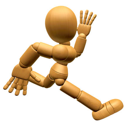 3D Wood Doll Mascot on Running. 3D Wooden Ball Jointed Doll Character Design Series. Stock Photo