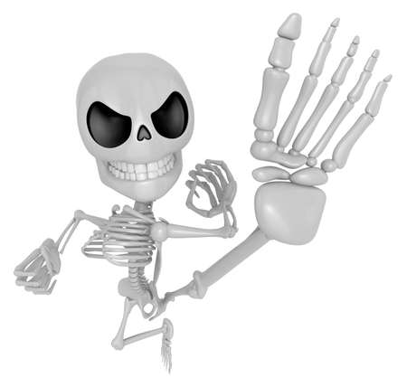 3D Skeleton Mascot to be powerful Fly kick. 3D Skull Character Design Series.