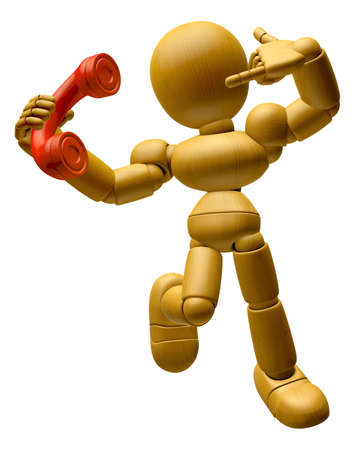 telephone cartoon: 3D Wood Doll Mascot Please call me today. 3D Wooden Ball Jointed Doll Character Design Series.