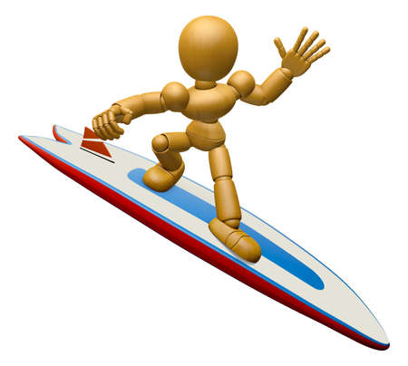 3D Wood Doll Mascot to play a surfboard.. 3D Wooden Ball Jointed Doll Character Design Series.