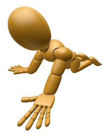 marioneta de madera: 3D Madera Muñeca Mascota flop en las rodillas. La bola de madera 3D articuló la serie del diseño del carácter de la muñeca. Foto de archivo