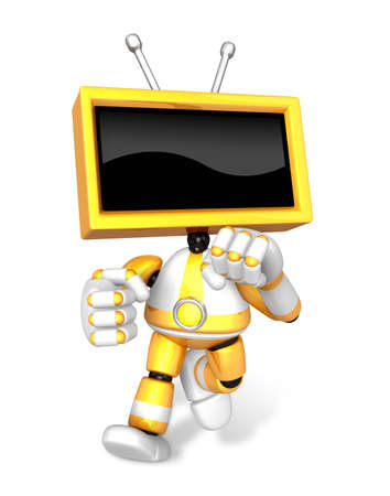 A Yallow TV Character and a boxing play. Create 3D Television Robot Series.