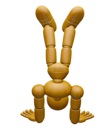 reverse: 3D Wood Doll Mascot stand upside down. 3D Wooden Ball Jointed Doll Character Design Series. Stock Photo