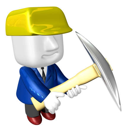 3d man miner with hardhat and pickaxe on white background. 3D Square Man Series. Stock Photo