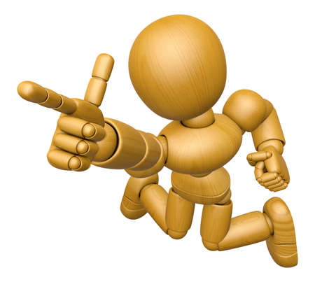 3D Wood Doll Mascot is points a finger one direction. 3D Wooden Ball Jointed Doll Character Design Series. Stock Photo