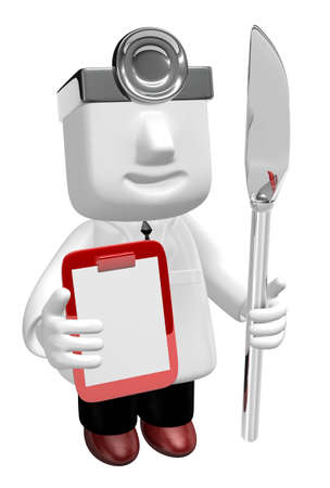 3d medical doctor standing to take their knife and chart. 3D Square Man Series.