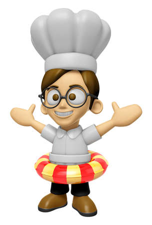 3D Chef Man Mascot is played in the pool on a tube. Work and Job Character Design Series 2.