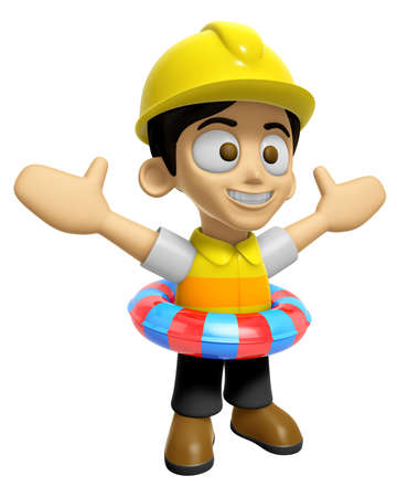 3D Construction Worker Man Mascot is played in the pool on a tube. Work and Job Character Design Series 2. Stock Photo