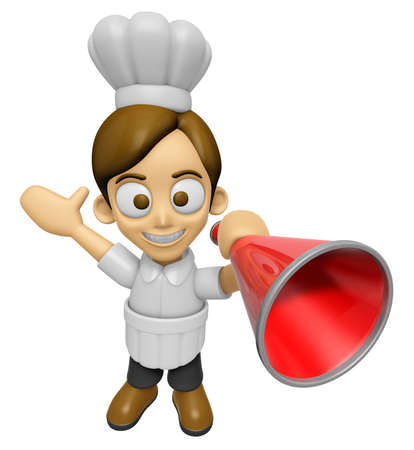 3D Chef Man Mascot is speakn over a loudspeaker. Work and Job Character Design Series 2. Stock Photo
