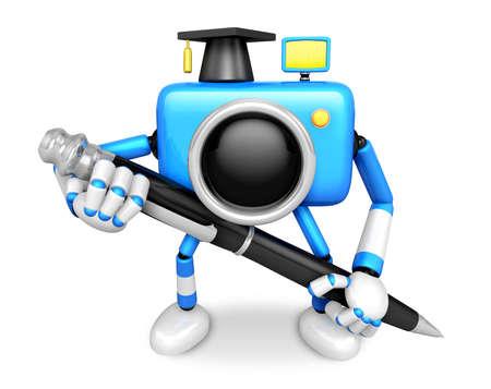 Blue Camera Character ballpoint pen a handwriting. Create 3D Camera Robot Series.