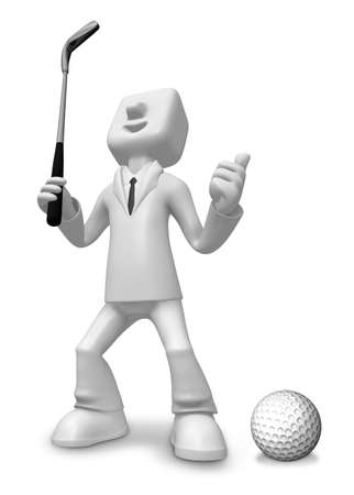 3D Business man Mascot golfer in action. 3D Square Man Series.