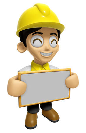 mankind: 3D Construction Worker Man Mascot holding a big board with both hands. Work and Job Character Design Series 2. Stock Photo