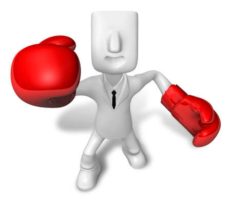 3D businessman with boxing gloves. 3D Square Man Series. Stock Photo