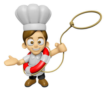 3D Chef Man Mascot is throwing a lifeline. Work and Job Character Design Series 2.