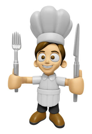 mankind: 3D Chef Man Mascot hand is holding a Fork and Knife. Work and Job Character Design Series 2.